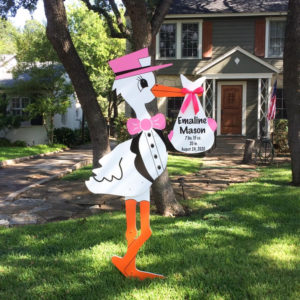 Pink Stork Sign: Stork Rental Yard Signs in Storks of South County, Southern California