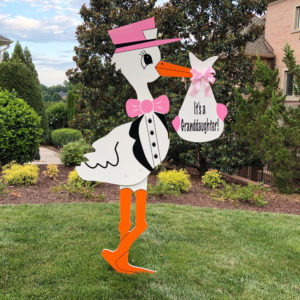 Pink Grandparent Stork Sign : Stork Rental Yard Signs in Storks of South County, Southern California