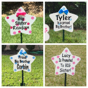 Sibling and Message Star Sign : Stork Rental Yard Signs in Storks of South County, Southern California
